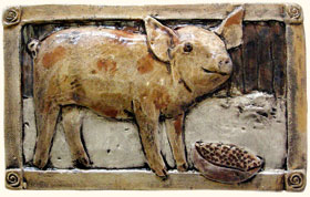 Barnyard Animal Relief Hand Painted Ceramic Tiles Horse