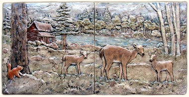 Custom Relief Hand Painted Ceramic Tile Backsplash Animal