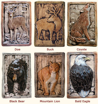 Rustic Relief Decorative Wildlife Animal Ceramic Art Tiles