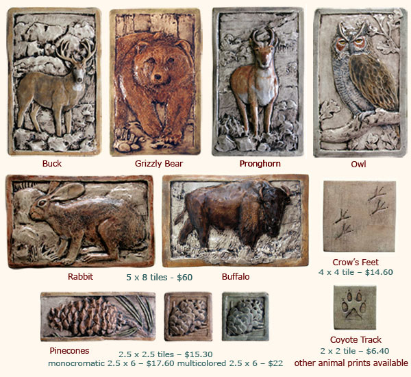 buck, grizzly bear, pronghorn, owl, rabbit, crow feet, coyote track tile